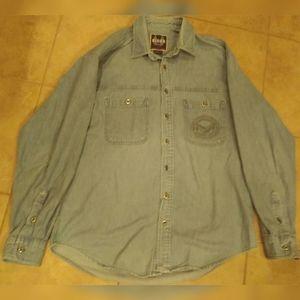 Harley Davidson Men's L Biker Blues Denim Shirt